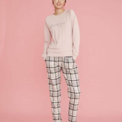 pigiama donna cotone caldo pantalone tartan