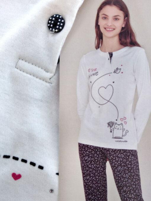 pigiama donna cotone caldo stampa gatto e cuori