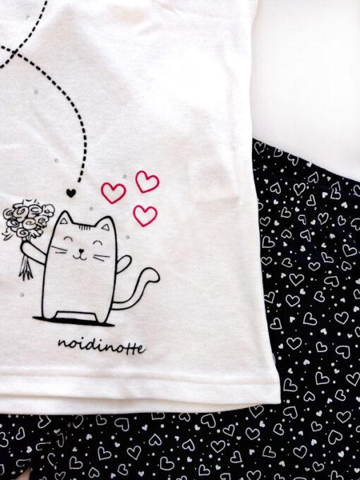 pigiama donna cotone caldo stampa gatto e cuori dettaglio