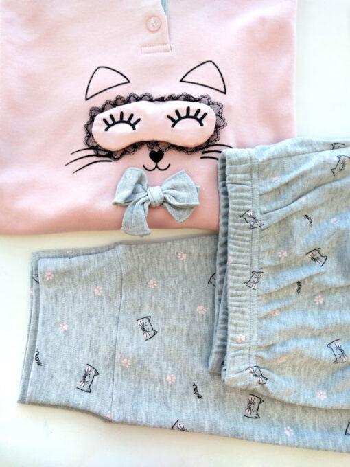 Pigiama donna in cotone caldo stampa gatto dettaglio polsino
