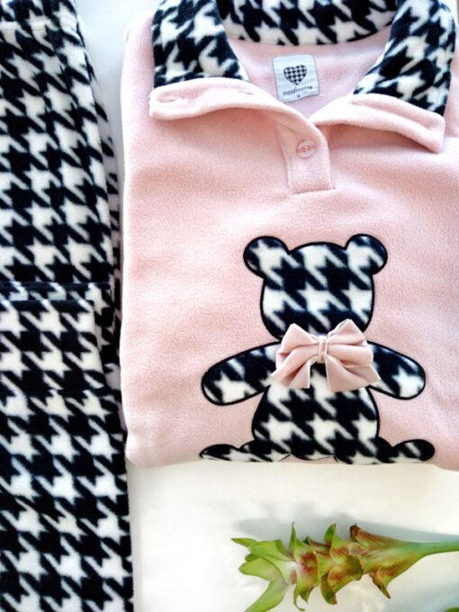 Pigiama donna in pile rosa teddy bear pantalone fantasia