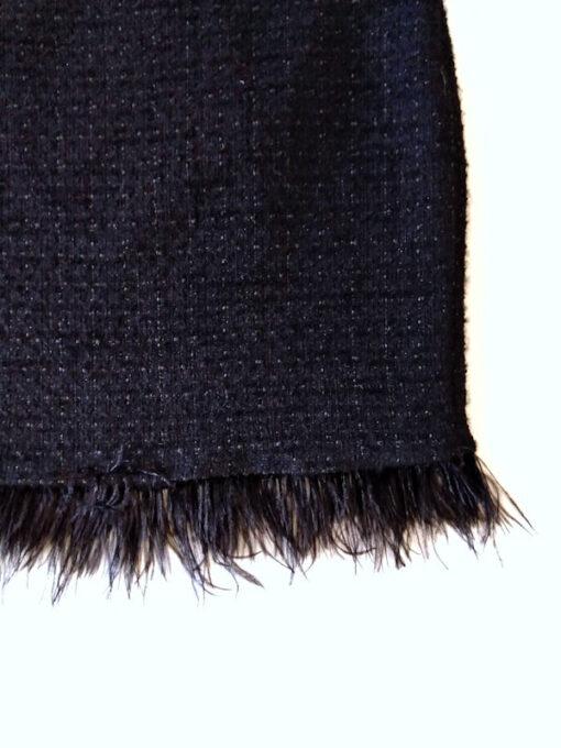 Gonna corta Kaos bouclè e tweed con frange colore nero dettaglio