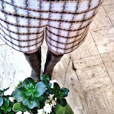 Shorts in tweed Kaos bianco e beige