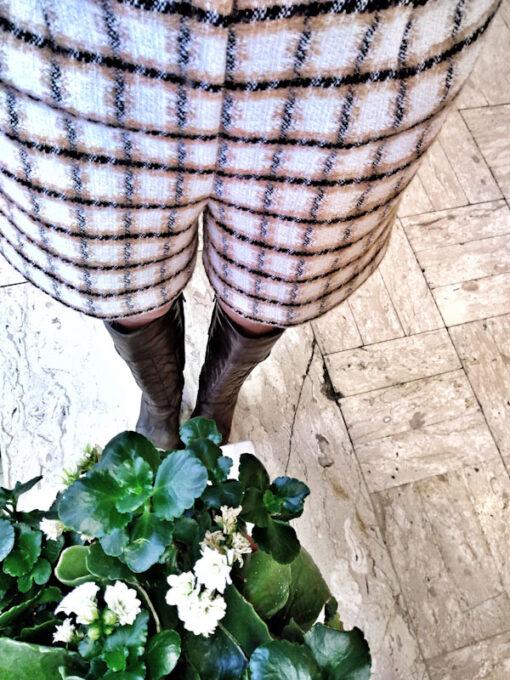 Shorts in tweed Kaos bianco e beige