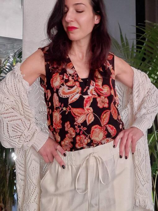 maglia donna top spalla larga Kaos in fantasia
