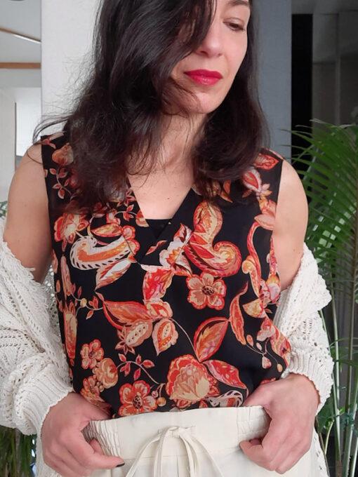 Maglia donna top spalla larga Kaos in fantasia scollo a v