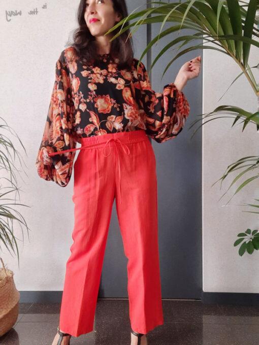 pantalone donna Kaos vita alta con elastico linea dritta