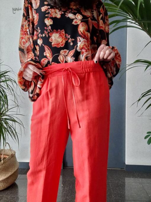 pantalone donna Kaos vita alta con elastico linea dritta colore aragosta