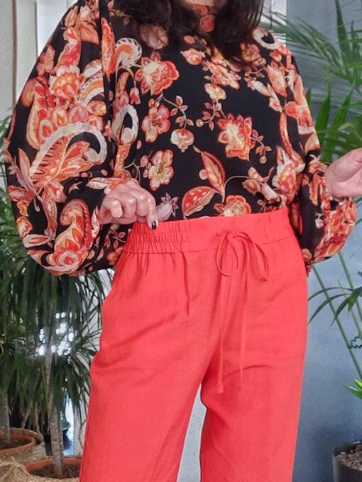 pantalone donna Kaos vita alta con elastico linea dritta colore aragosta lino e viscosa