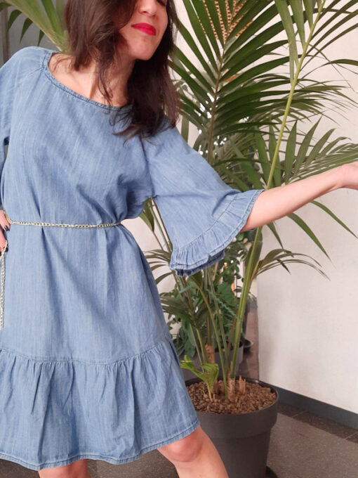 abito donna Kaos in cotone leggero tipo jeans