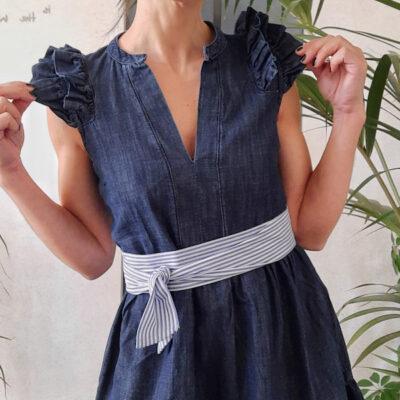abito donna Kaos in cotone tipo jeans blu scuro