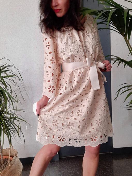 abito donna collezione Kaos in pizzo di cotone avorio