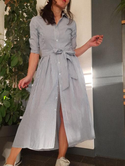abito lungo Kaos a camicia a righe con cintura in tessuto