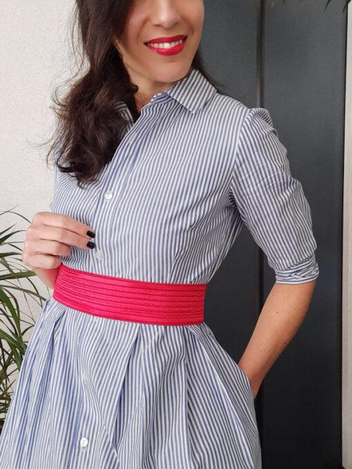 abito lungo Kaos a camicia in cotone a righe manica a 3 quarti