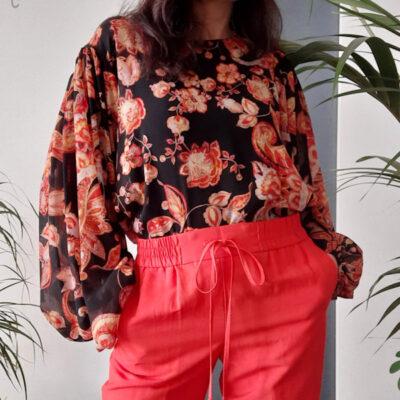 maglia blusa donna Kaos manica lunga in fantasia