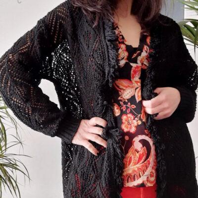 maglia donna Kaos modello cardigan lungo senza bottoni
