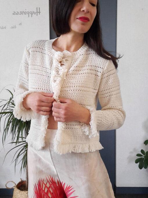 maglia donna tricot aperta Kaos con profili a frange
