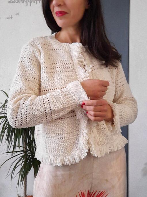 maglia donna tricot aperta Kaos con profili a frange manica lunga