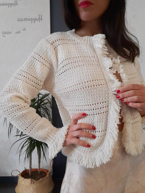 maglia donna tricot aperta Kaos con profili a frange manica lunga colore avorio
