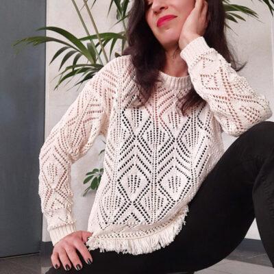 maglia donna tricot collezione Kaos profilo a frange