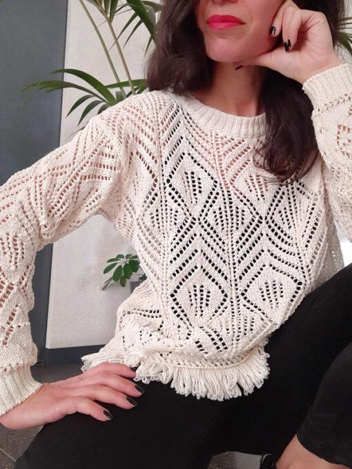 maglia donna tricot collezione Kaos profilo a frange avorio scollo girocollo
