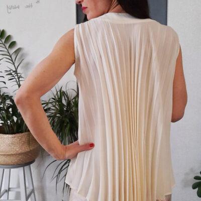 maglia top donna Kaos spalla larga con plissè