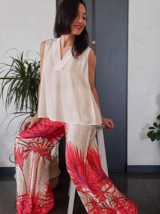 pantalone donna Kaos gamba larga in fantasia