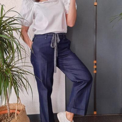 pantalone donna blu in cotone leggero tipo jeans
