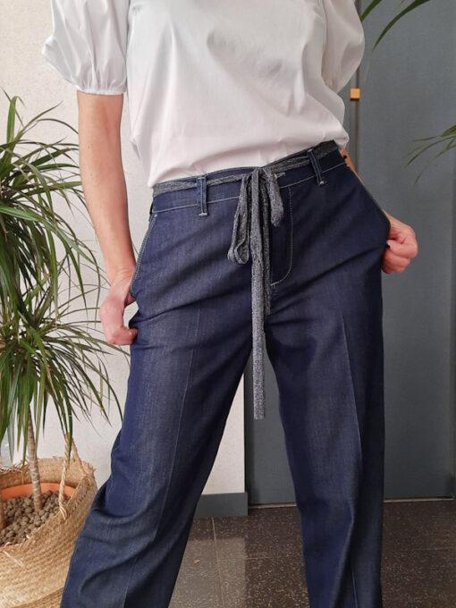 pantalone donna blu in cotone leggero tipo jeans vita alta