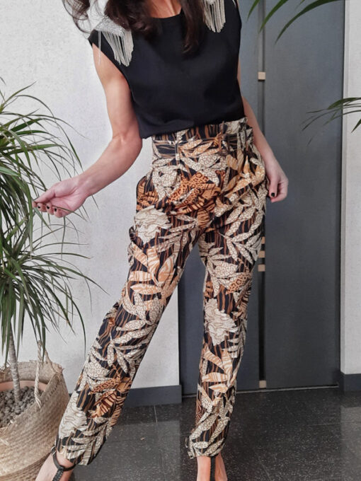 pantaloni donna Kaos in cotone fantasia etnica