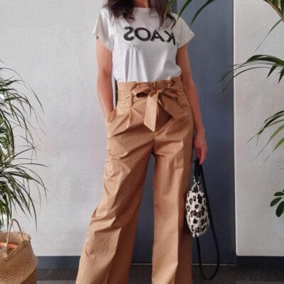 pantaloni donna Kaos in cotone gamba larga vita alta