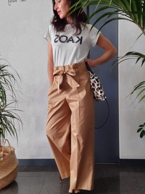 pantaloni donna Kaos in cotone gamba larga vita alta con pinces