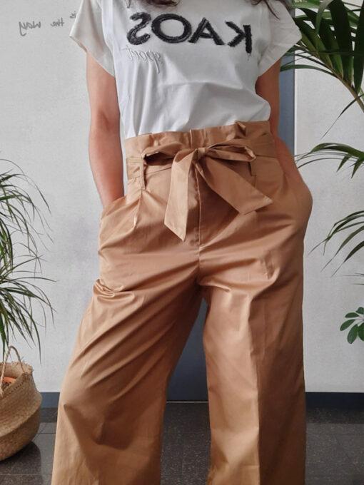 pantaloni donna Kaos in cotone gamba larga vita alta con pinces colore beige