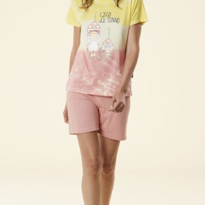pigiama donna corto Happy People tye & dye