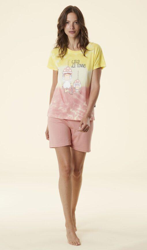 pigiama donna corto Happy People tye & dye