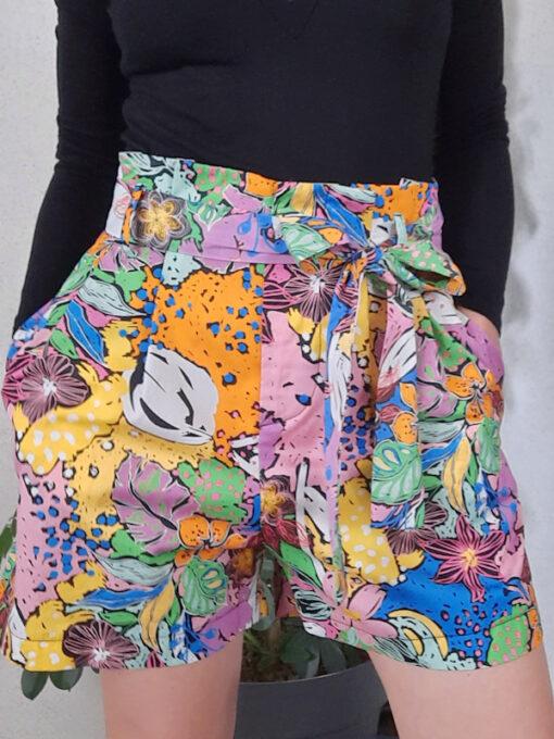 shorts donna Kaos in cotone e fantasia multicolor