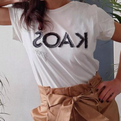t-shirt donna Kaos in cotone bianca a girocollo