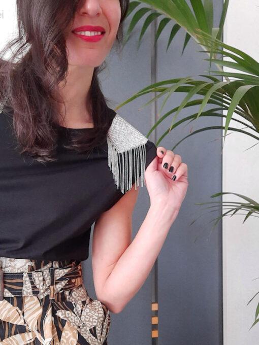 t-shirt donna Kaos in cotone con dettaglio di strasses