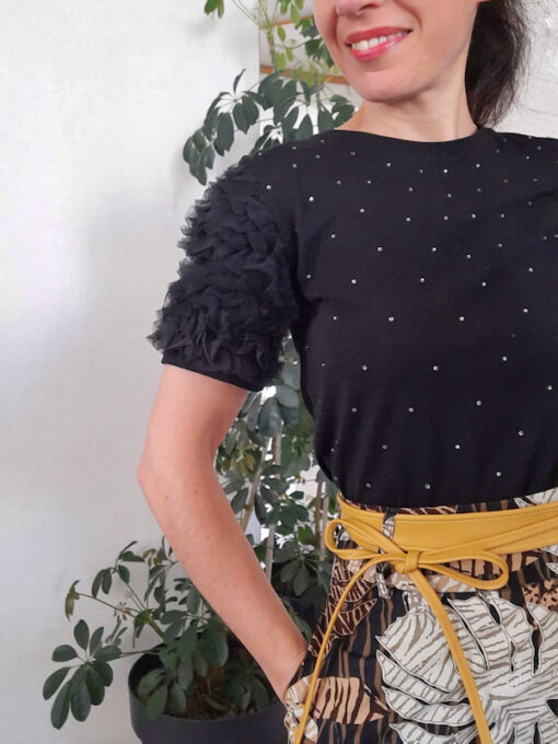 t-shirt donna Kaos strass e rouches colore nero