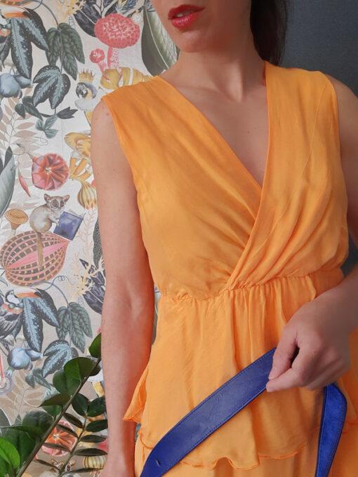 abito donna Kaos in seta a balze e scollo a V spalla larga colore arancio