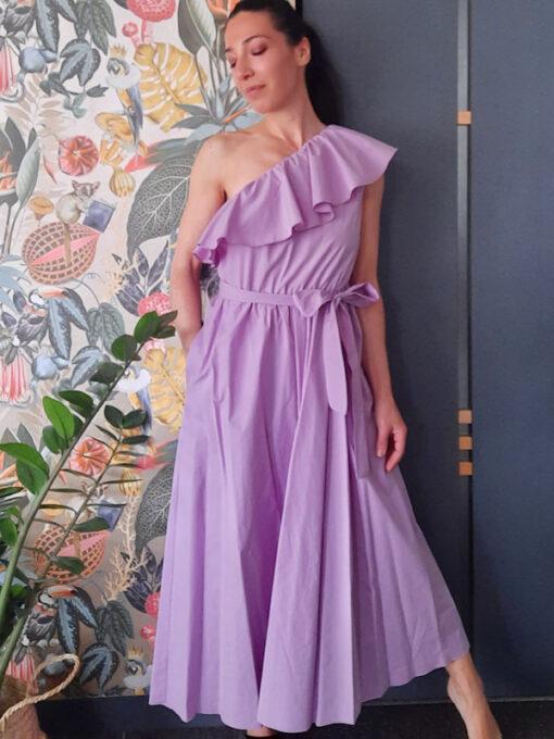 abito lungo Kaos monospalla con volant in cotone colore lilla