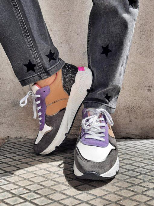Sneakers donna sportive esclusiva Ovyè per Kaos dettaglio glitter