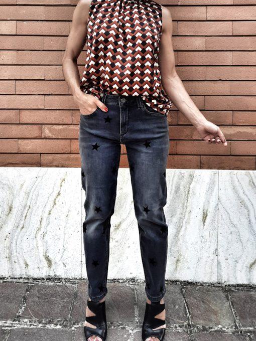 jeans donna grigio con stelle collezione Kaos
