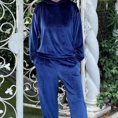 maglia in ciniglia Kaos blu modello felpa con cappuccio