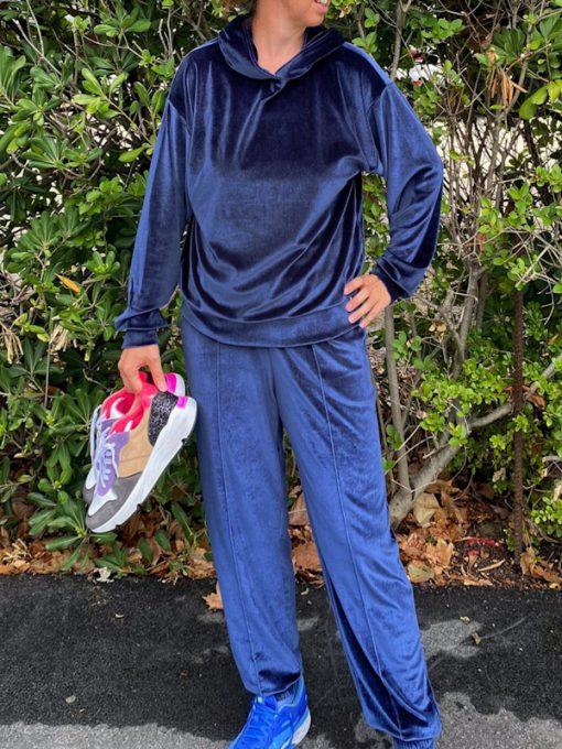 maglia in ciniglia Kaos blu modello felpa con cappuccio e polsini
