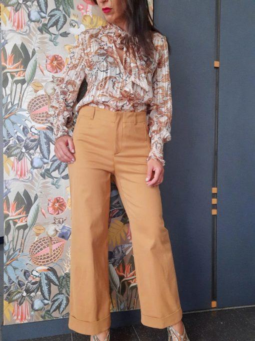 pantalone donna Kaos in cotone linea dritta gamba larga
