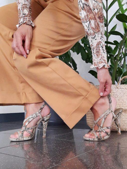 pantalone donna Kaos in cotone linea dritta gamba larga vita alta e risvolto in fondo