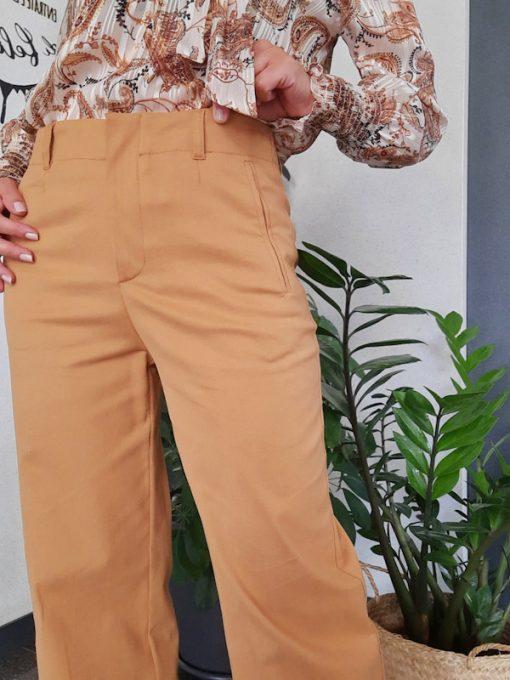 pantalone donna Kaos in cotone linea dritta gamba larga vita alta elasticizzato