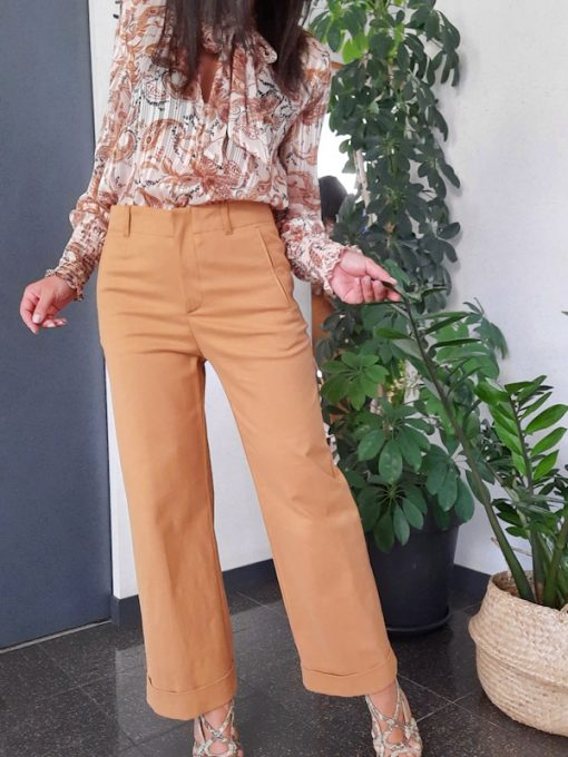 pantalone donna Kaos linea dritta gamba larga vita alta