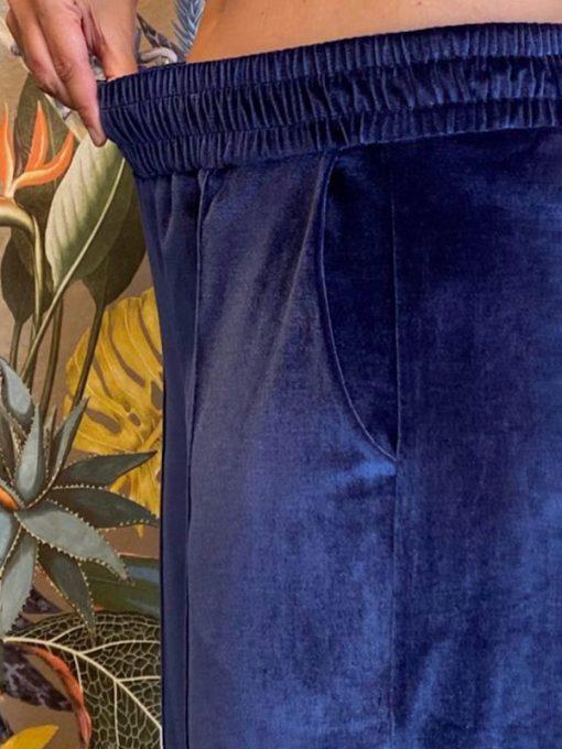 pantaloni donna Kaos in ciniglia blu modello tuta con elastico in vita